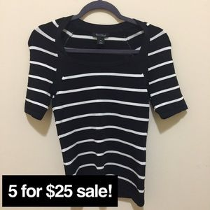 White House Black Market striped fitted top XS